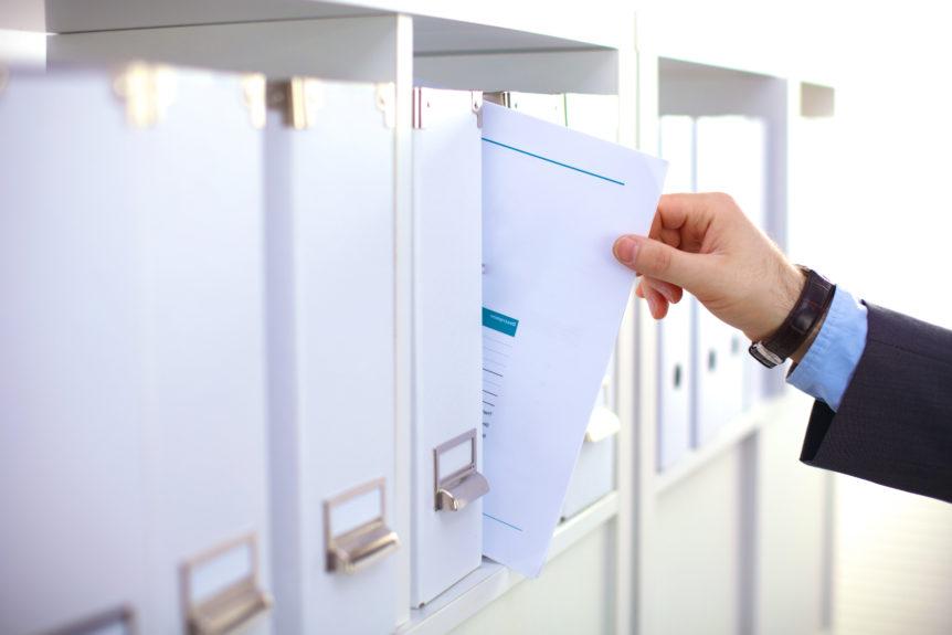File folders, standing on shelves in the background, crosslead, company plan, strategic plan, washington dc
